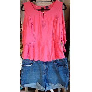 🌻 Kaari Blue Cold Shoulder Women's Shirt Sz L